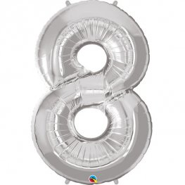 Qualatex Silver Number 8 Supershape Balloons