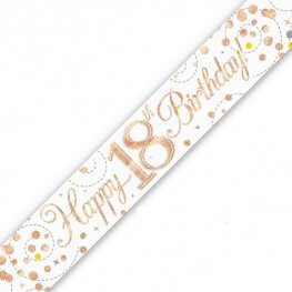 Sparkling Fizz Happy 18th Birthday Holographic Banner