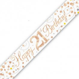 Sparkling Fizz Happy 21st Birthday Holographic Banner