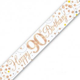 Sparkling Fizz Happy 90th Birthday Holographic Banner