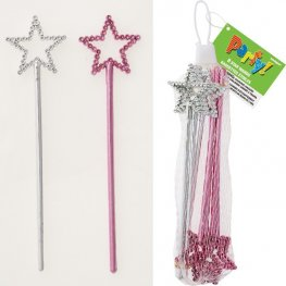 Silver And Pink Star Wands 8pk