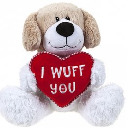 25cm I Wuff You Puppy With Love Heart