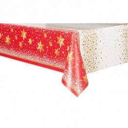 Gold Sparkle Christmas Plastic Tablecover 1pk