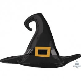 Satin Black Witch Hat Supershape Balloons