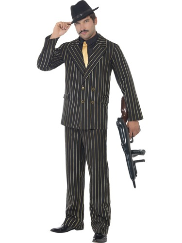 Gold Pinstripe Gangster Costumes