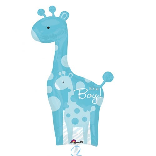 Dad And Baby Blue Giraffe Supershape Balloons