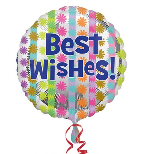 "18"" Bright Best Wishes Foil Balloons"
