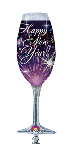 Happy New Year Champagne Glass Supershape Balloons