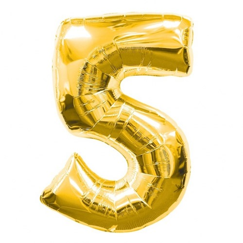 Number 5 Gold Supershape Balloons