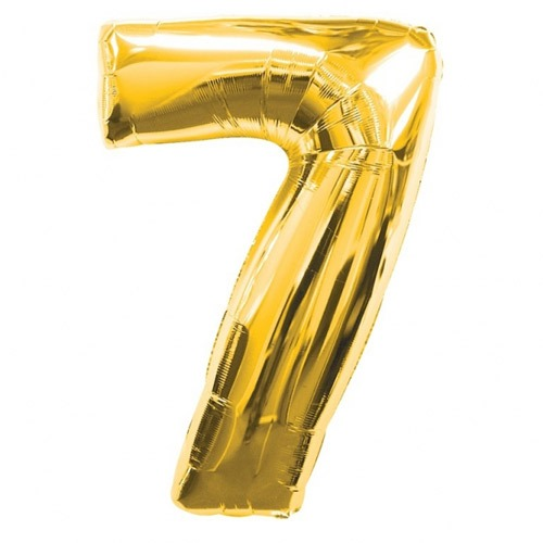 Number 7 Gold Supershape Balloons