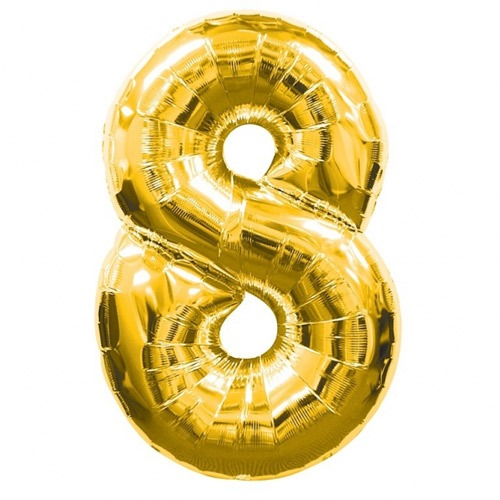 Number 8 Gold Supershape Balloons
