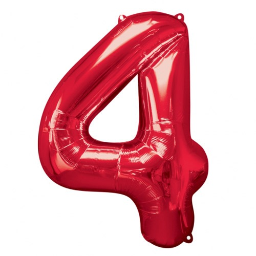 Number 4 Red Supershape Balloons
