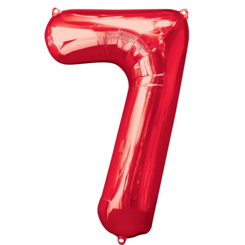 Number 7 Red Supershape Balloons