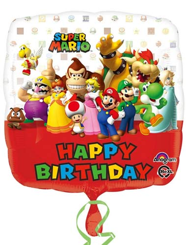 "18"" Super Mario Bros Happy Birthday Foil Balloons"