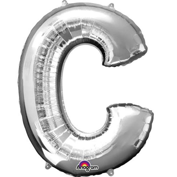 "16"" C Letter Silver Air Filled Balloons"