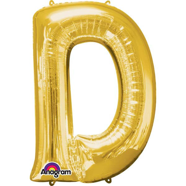 "16"" D Letter Gold Air Filled Balloons"