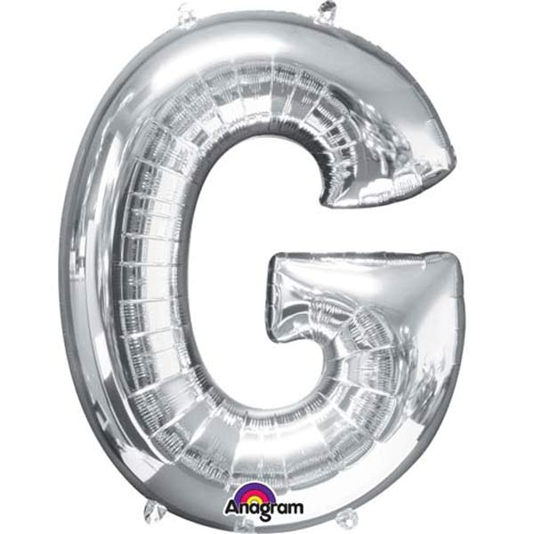 "16"" G Letter Silver Air Filled Balloons"