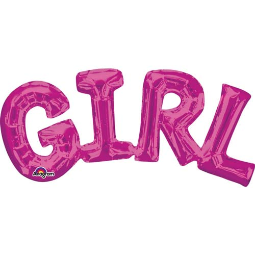 "22"" Girl Pink Air Filled Balloons Kit"