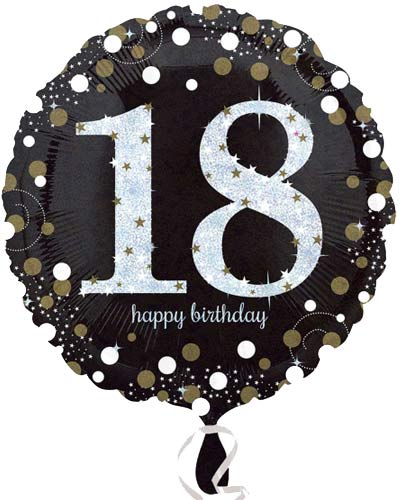 "18"" Black And Gold 18th Birthday Foil Balloons"