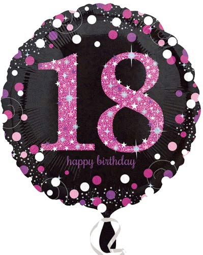 "18"" Black And Pink 18th Birthday Foil Balloons"
