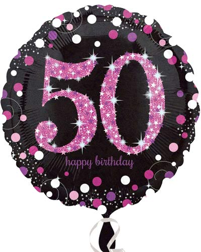 "18"" Black And Pink 50th Birthday Foil Balloons"
