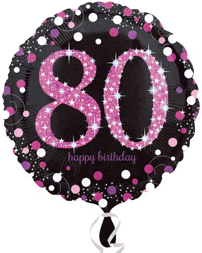 "18"" Black And Pink 80th Birthday Foil Balloons"