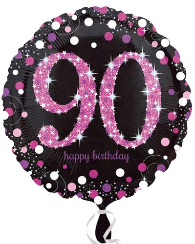 "18"" Black And Pink 90th Birthday Foil Balloons"