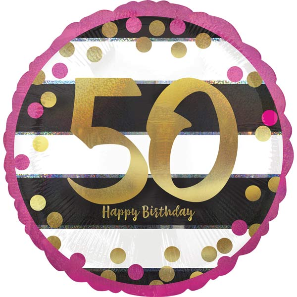18 Pink Gold 50th Birthday Foil Balloons