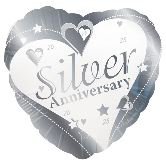 "18"" Silver Wedding Anniversary Foil Balloons"