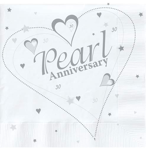 Pearl Anniversary Lunch Napkins 18pk