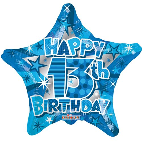 "18"" Happy 13th Birthday Blue Star Foil Balloons"