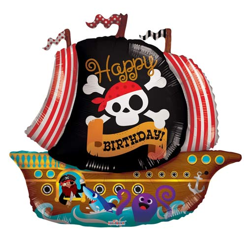 Pirate Ship Happy Birthday Supershape Balloons