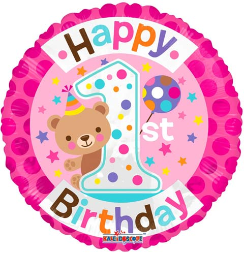 "18"" Happy 1st Birthday Teddy Foil Balloons"