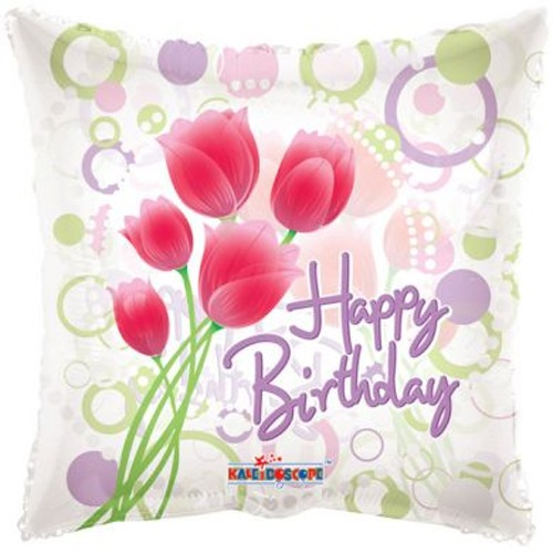 "18"" Happy Birthday Clear Tulips Balloons"