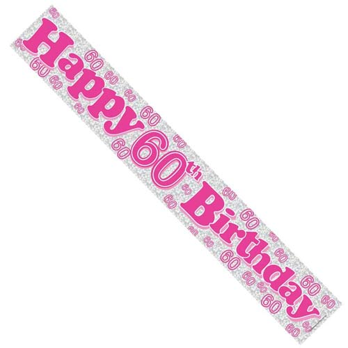 Happy 60th Birthday Pink Holographic Banner
