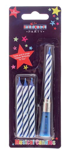 Blue Musical Candles x6