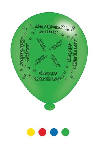 "10"" Happy Birthday Assorted Latex Balloons 6 Packs Of 8"