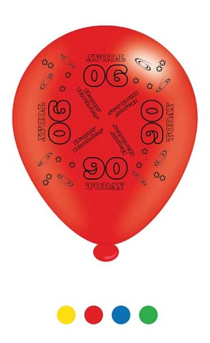 "10"" Age 90 Assorted Latex Balloons 6 Packs Of 8"