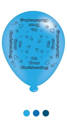 "10"" Christening Boy Assorted Latex Balloons 6 Packs Of 8"