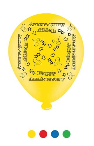 "10"" Anniversary Assorted Latex Balloons 6 Packs Of 8"