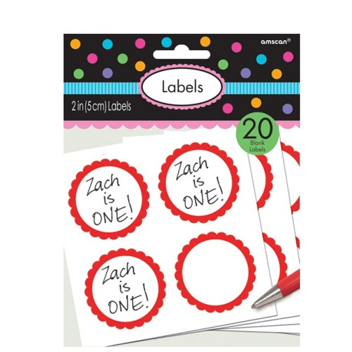 Apple Red Scalloped Labels