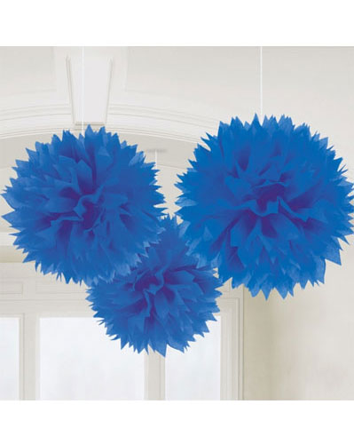 Royal Blue Fluffy Paper Decorations 3pk
