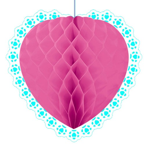 Pink Heart Honeycomb Decoration