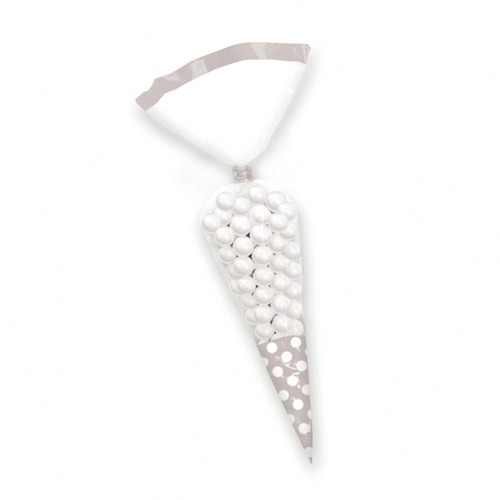 Silver Candy Cone Polka Dot Bags x10