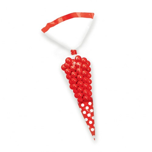 Apple Red Candy Cone Polka Dot Bags x10