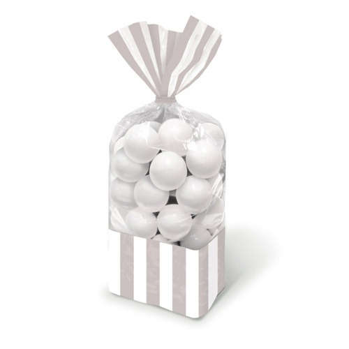 Silver Striped Party Bags x10
