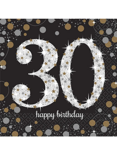 30th Birthday Gold Celebration Napkins 16pk