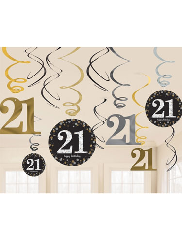 21st Gold Celebration Swirl Decoration