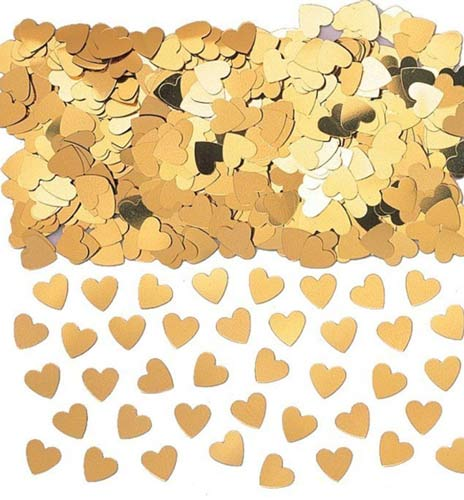 Gold Sparkle Hearts Metallic Confetti