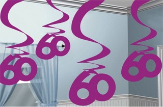 60th Pink Hanging Swirl Decoration